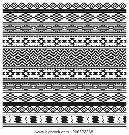 American Indians tribal texture, seamless pattern. Navajo style. Swatch is included in vector file. Black and white.