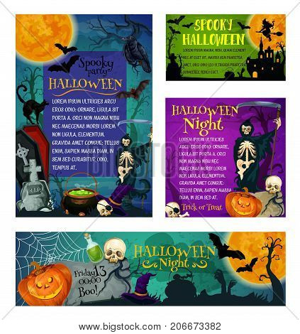 Halloween party or trick or treat holiday greeting and invitation posters. Vector skeleton skull zombie eye and hand or spooky ghost on cemetery, Halloween pumpkin lantern and witch hat or black cat