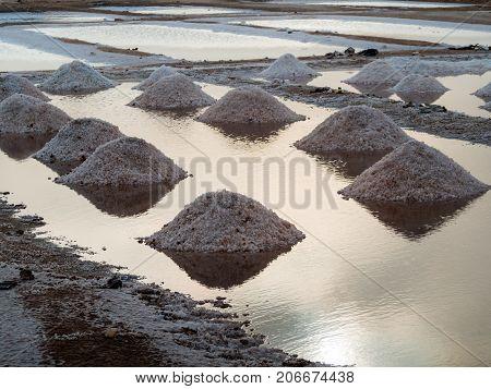 Salt in water on Sal island, Cape Verde
