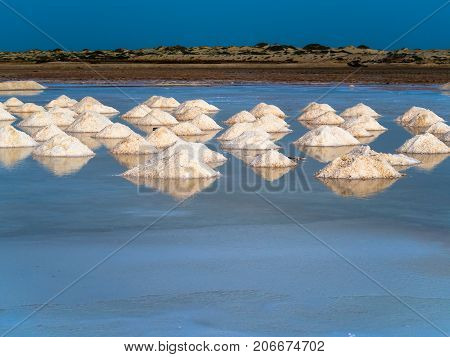 Evaporation pools, fresh salt mounds in water