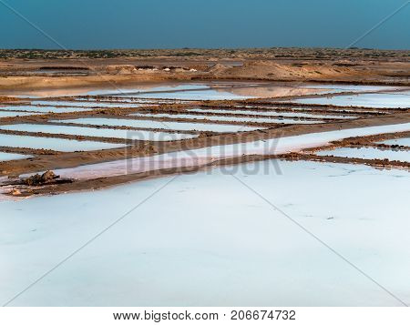 Salt evaporation pans in Cape Verde, Africa