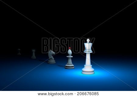 Career growth. Horizontal chess composition. Available in high-resolution and several sizes to fit the needs of your project. 3D renderi illustration. Black background layout with free text space.