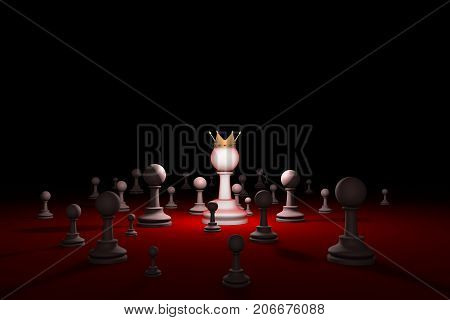 Great authority. Leader. Chess composition. Available in high-resolution and several sizes to fit the needs of your project. Background layout with free text space. 3D illustration render
