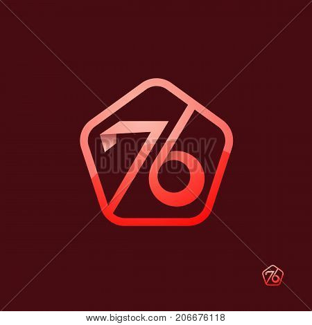76 logo concept with clean number. for business, corporate, wedding, love, valentine logo celebration