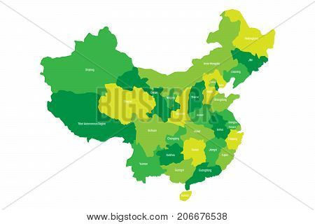 Regional map of administrative provinces of China. Four shades of green with white labels on white background. Vector illustration.
