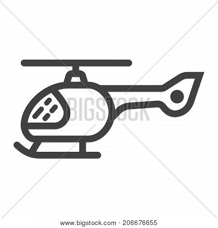 Helicopter line icon, transport and air vehicle, aircraft sign vector graphics, a linear pattern on a white background, eps 10.