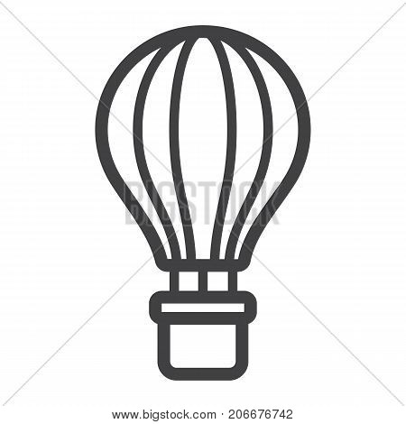 Hot air balloon line icon, transport and air vehicle, travel sign vector graphics, a linear pattern on a white background, eps 10.