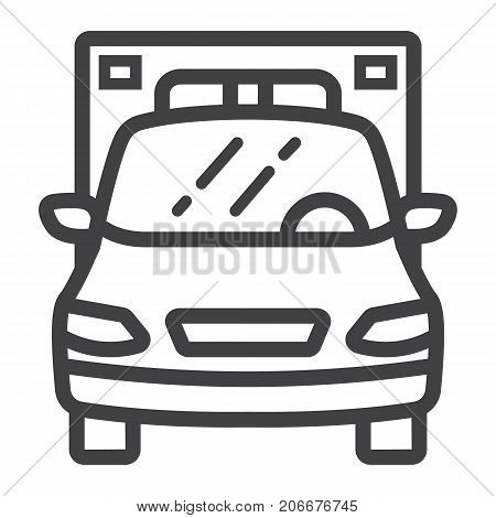 Ambulance line icon, transport and vehicle, emergency sign vector graphics, a linear pattern on a white background, eps 10.