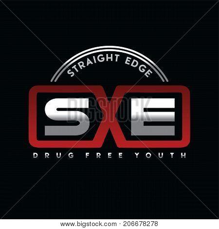 straight edge drug free youth community vector art poster