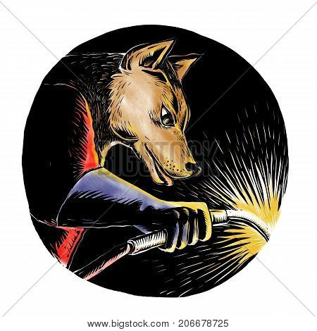 Woodcut style illustration of a wolf or wild dog welder welding viewed from side set inside oval shape on isolated background.