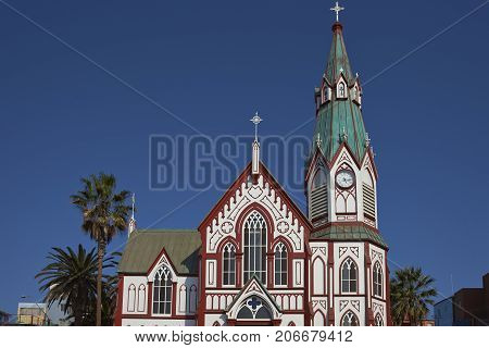 Historic Catedral de San Marcos in Arica, Northern Chile. The cathedral was designed by Gustave Eiffel and was constructed in the 1870's