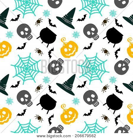 Halloween Seamless Pattern White