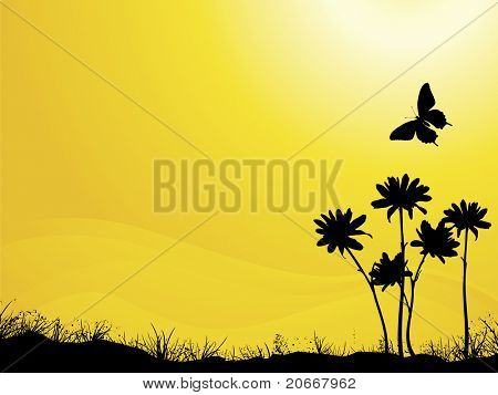 Summer Silhouette Butterfly and Flowers