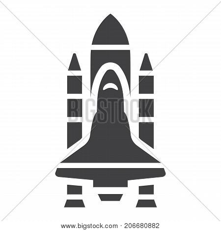 Space Shuttle glyph icon, transport and space vehicle, rocket sign vector graphics, a solid pattern on a white background, eps 10.