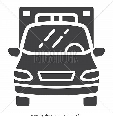 Ambulance glyph icon, transport and vehicle, emergency sign vector graphics, a solid pattern on a white background, eps 10.