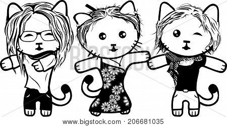 Vector modern fashionable dressed cats. Part 3. Girls