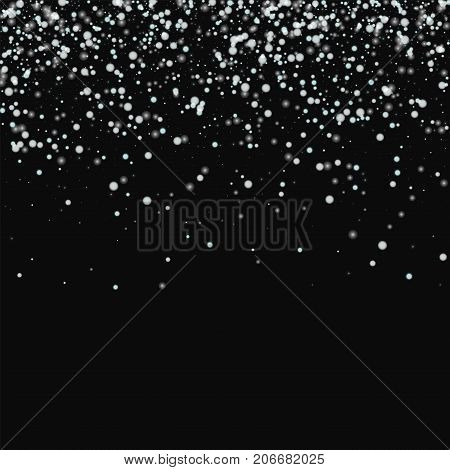 Amazing Falling Snow. Scatter Top Gradient With Amazing Falling Snow On Black Background. Vector Ill