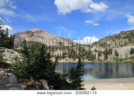 The lake in Lassen Volcanic National park in California, USA