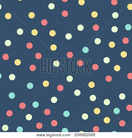 Colorful Polka Dots Seamless Pattern On Bright 16 Background. Nice Classic Colorful Polka Dots Texti