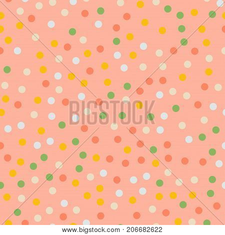 Colorful Polka Dots Seamless Pattern On Bright 5 Background. Marvelous Classic Colorful Polka Dots T