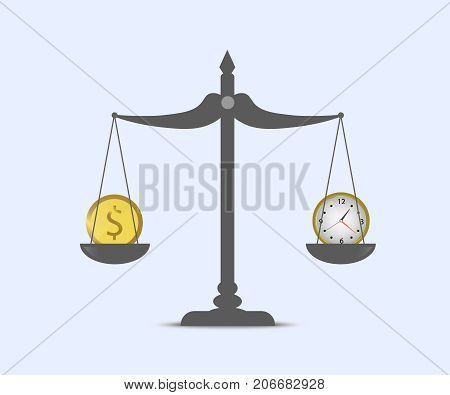 Time and money on scales. Business concept.