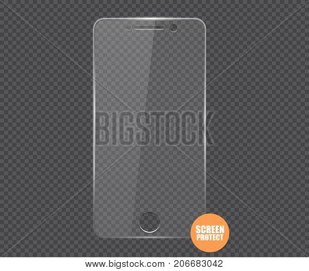 Vector screen protector film or glass cover. Screen protect Glass