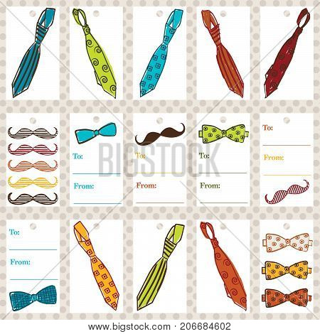 Tie & Mustache Gift Tags - Set of 15 colorful gift tags size 2