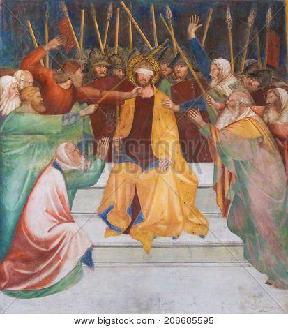 Fresco In San Gimignano - Jesus At The Praetorium