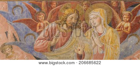 Fresco In San Gimignano - Jesus And Mother Mary