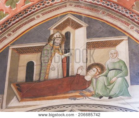 Fresco In San Gimignano - Saints Gregory And Fina