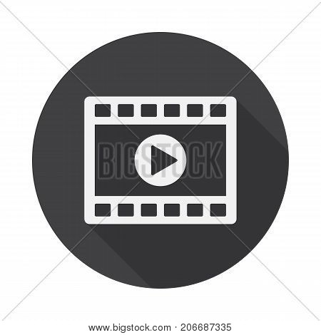 Video clip player icon with long shadow. Flat design style. Movie player simple silhouette. Modern minimalist round icon in stylish colors. Web site page and mobile app design vector element.