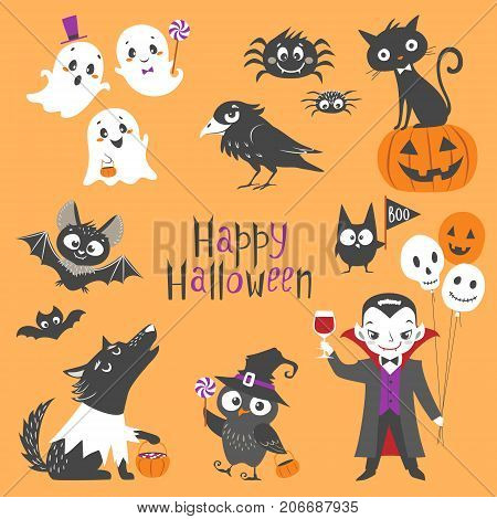 Set of cute Halloween characters. Pumpkin ghosts bats black cat raven spiders vampire skin-walker and owl isolated on orange background.
