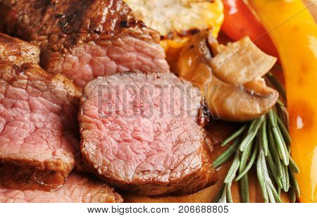 Slices of tasty juicy meat, closeup