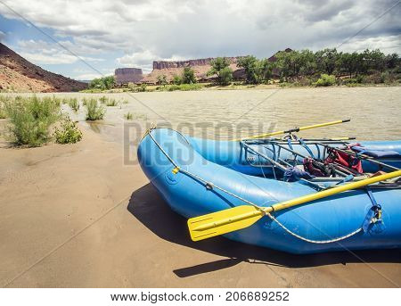 River rafting inflatable boat on the Colorado River