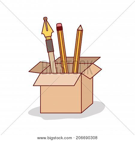 carton box with set nib and pen on white background vector illustration