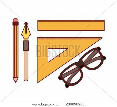set nib and pen with work elements for drawn on white background vector illustration