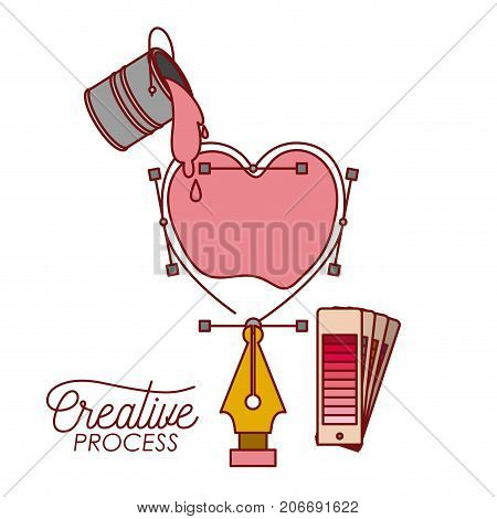 nib design a heart box with paint bucket spilling color for creative process on white background vector illustration