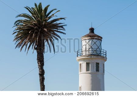 RANCHO PALOS VERDES, CALIFORNIA - JULY 9, 2017:  The historic Point Vicente lighthouse, built in 1926 and located on a 130-foot cliff on grounds owned and operated by the U.S. Coast Guard.