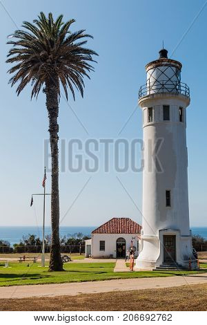 RANCHO PALOS VERDES, CALIFORNIA - JULY 9, 2017:  The Point Vicente lighthouse and museum, located on federal property and owned and operated by the U.S. Coast Guard.