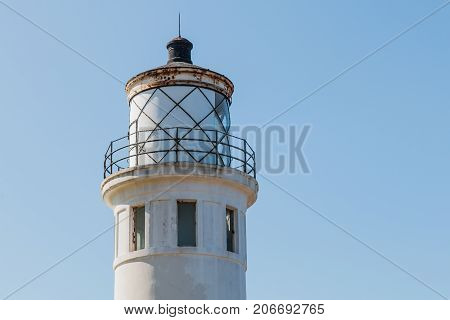 RANCHO PALOS VERDES, CALIFORNIA - JULY 9, 2017:  Close-up view of the lantern room of the historic Point Vicente lighthouse built in 1926 and now owned and operated by the U.S. Coast Guard.