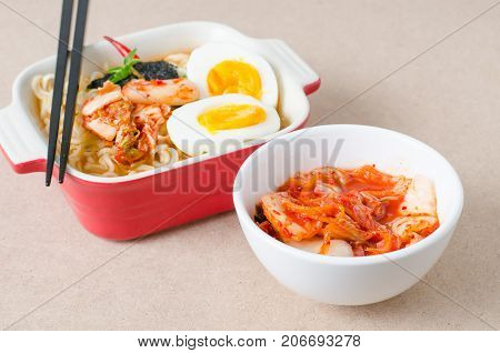 Korean food,kimchi cabbage and Instant noodles for eating.Healthy Korean food