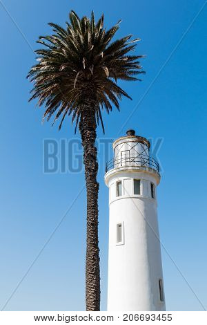 RANCHO PALOS VERDES, CALIFORNIA - JULY 9, 2017:  The Point Vicente lighthouse in Los Angeles County, was built in 1926.  It is now owned and operated by the U.S. Coast Guard and was automated in 1971.
