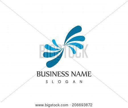 water splash icon logo design vector template