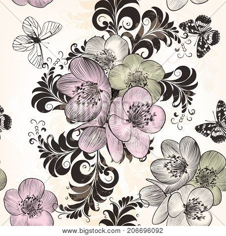 Beautiful seamless pattern with hand drawn flowers