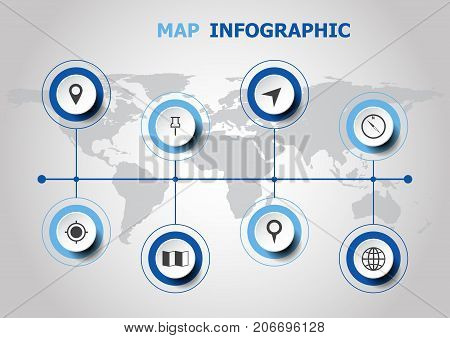 Infographic design with map icons, stock vector