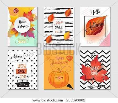 Thanksgiving sale banners and posters set. Autumn Sale discount gift cards with Fall maple leaves, foliage, pumpkin abstract trendy background. Save up to half price flyers. Shop whole sale coupon discover up to 50% off - text, leaflet vector.