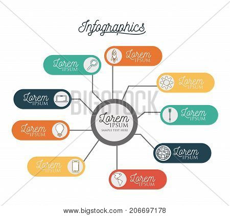 infographic with central circle connected to colorful horizontal labels bar around him vector illustration