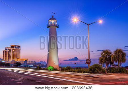 Biloxi, Mississippi, USA at Biloxi Lighthouse.