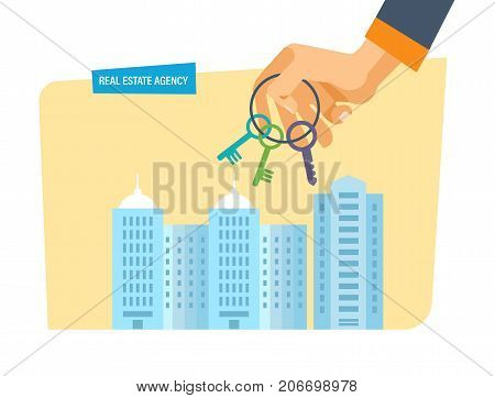 Real estate agency. City street in background of houses. Working, business deals, real estate contract deals. Business property investment. Buying, selling houses. Vector illustration isolated.