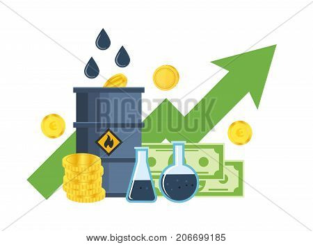 Concept of a stock exchange of resources and currencies. Growth and fall in prices for gasoline and oil, trading pricing courses, investments, management. Vector illustration isolated.